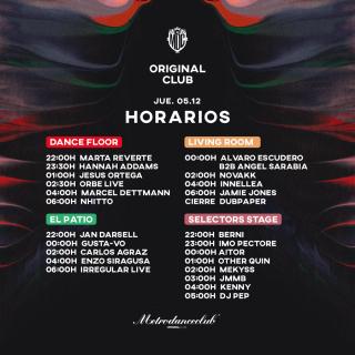 horarios original club 2019
